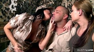 busty army lovers jasmine jae and abbie cat share huge dick at army base