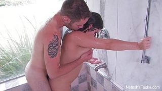 Natasha Nice In The Shower With A Wolf