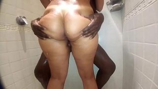 part 2 My wife taking a shower with a super gifted nigga and moans hot when he rubs his black cock in her pussy
